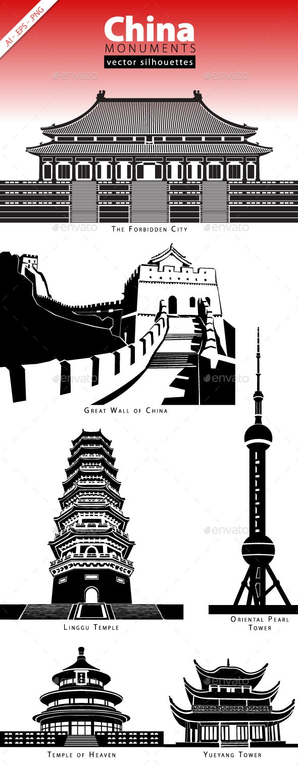 China Monuments - Buildings Objects