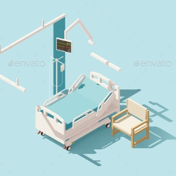 Isometric Low Poly Hospital Bed