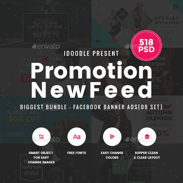 [Biggest Bundle] - Promotion Facebook Banner Ads - 518 PSD [02 Size Each]