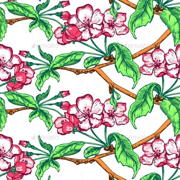 Apple Flower Sketch Pattern - Flowers & Plants Nature