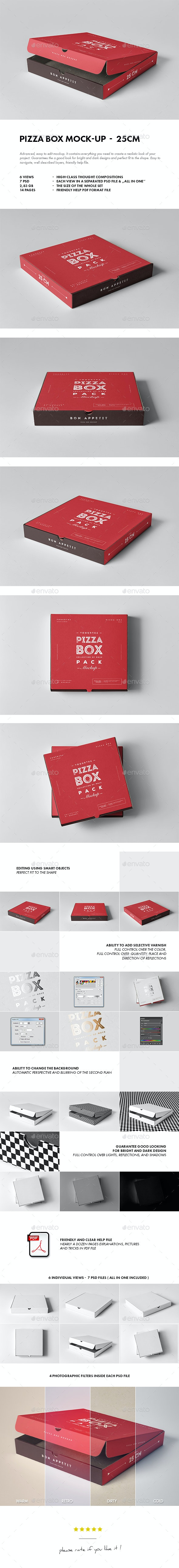 25 Pizza Box Mock-up - Food and Drink Packaging