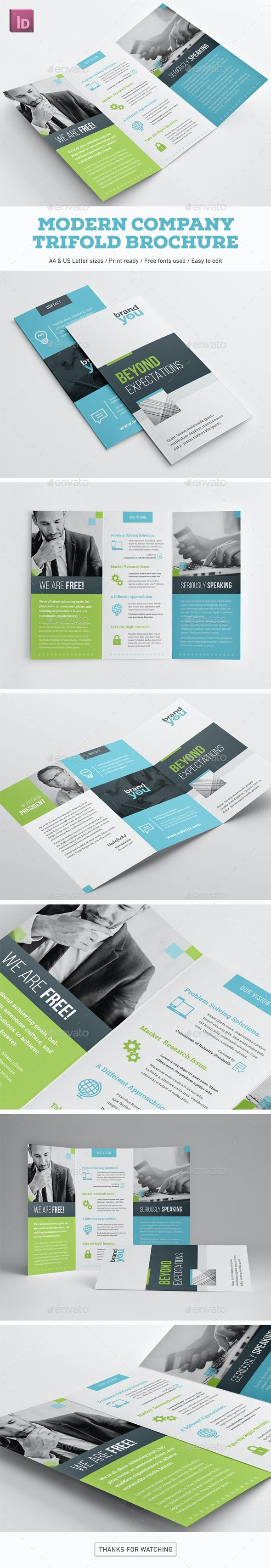 Modern Company Trifold Brochure - Corporate Brochures