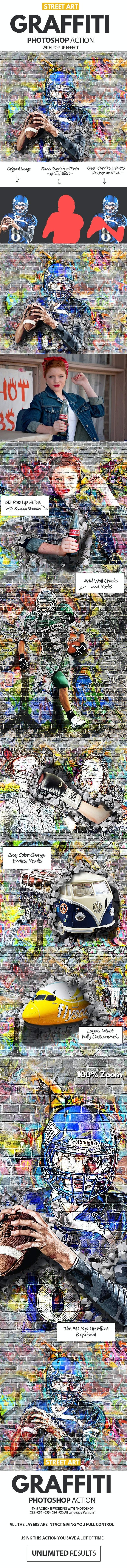 Graffiti Effect with Pop Up Photoshop Action by psddude