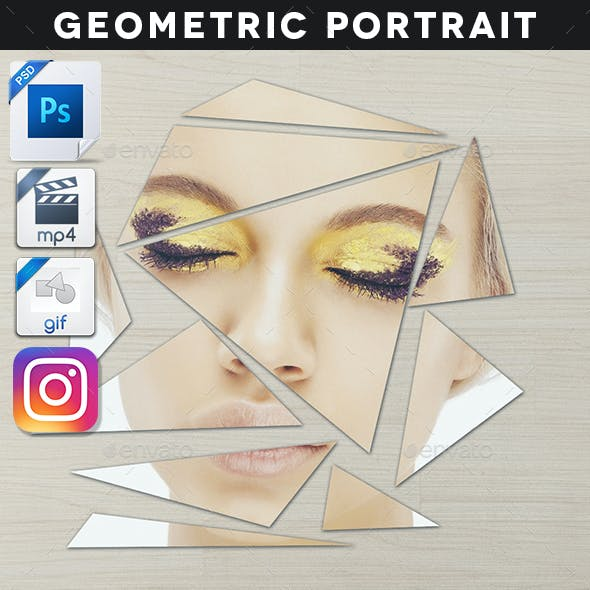 Animated Broken Geometric Portrait Template