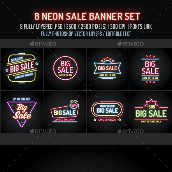 Neon Sale Banners Set