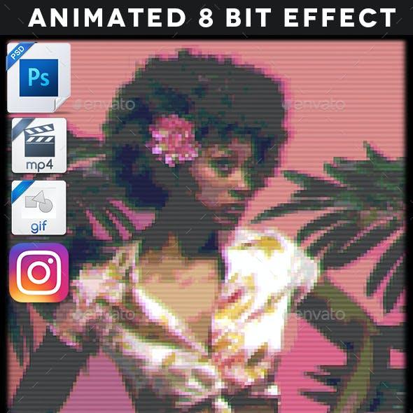 Animated Retrowave 8 Bit Effect Template