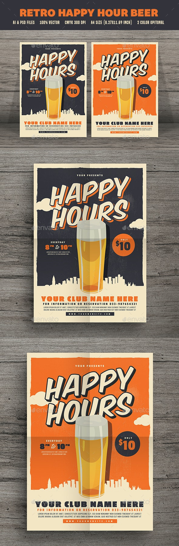 Retro Happy Hour Beer Festival - Events Flyers
