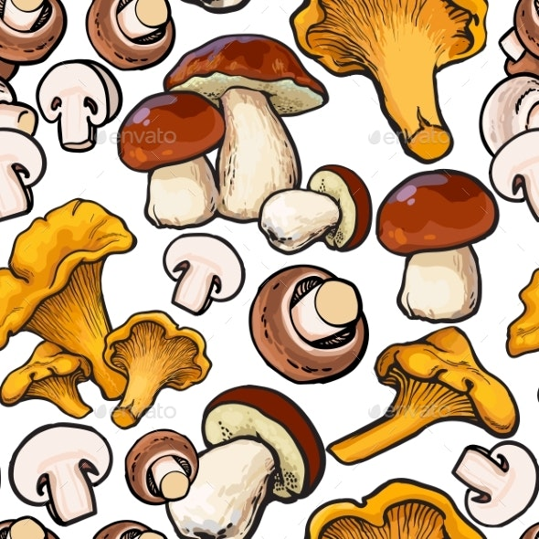Seamless Pattern of Mushrooms - Backgrounds Decorative