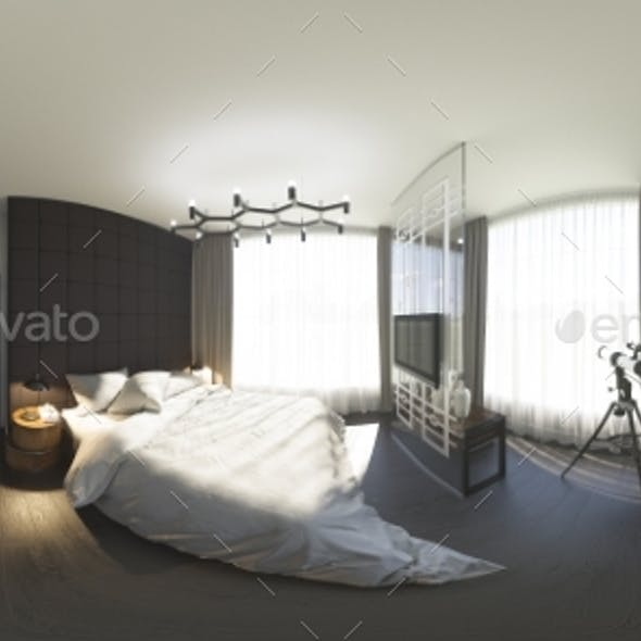 3d Illustration 360 Degrees Panorama of Bedroom
