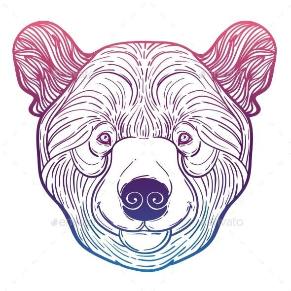 Animal Teddy Bear Head Print