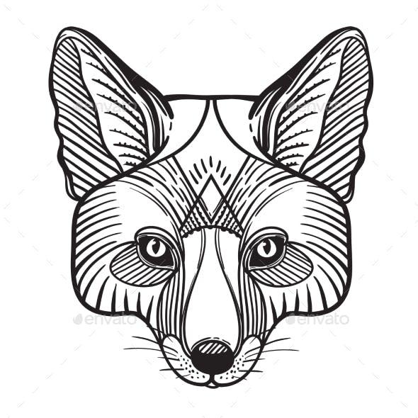Animal Fox Head Print