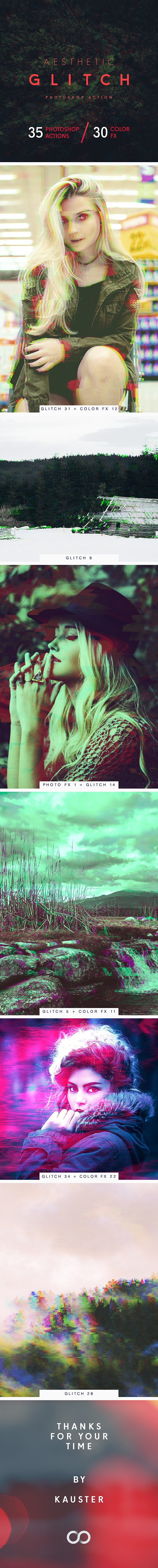 Aesthetic Glitch - Photoshop Action - Photo Effects Actions