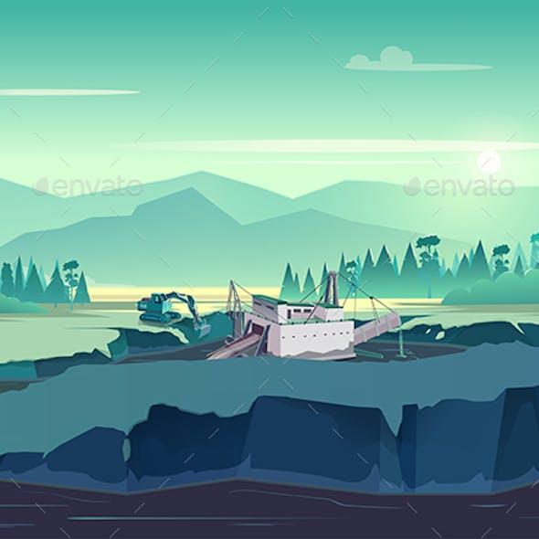 Gold Rush Alaskan Landscape