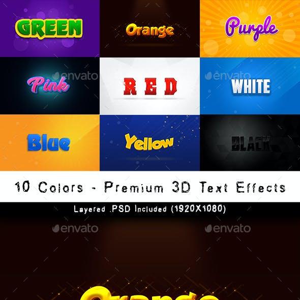 10 Colors - Premium 3D Text Effects