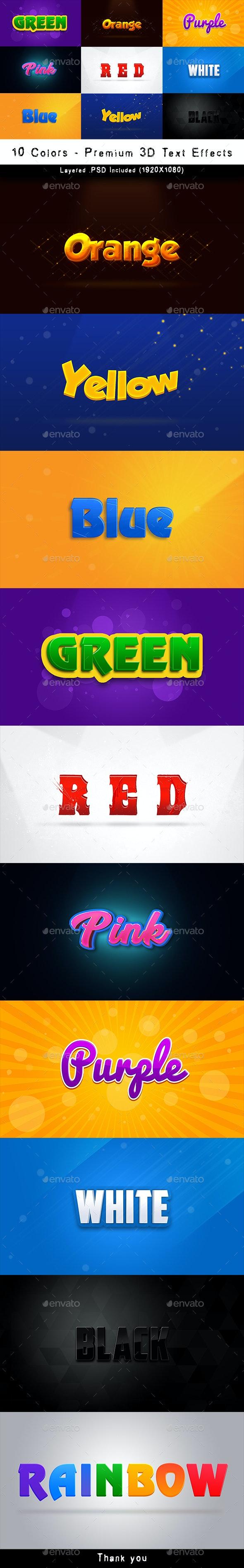 10 Colors - Premium 3D Text Effects - Graphics