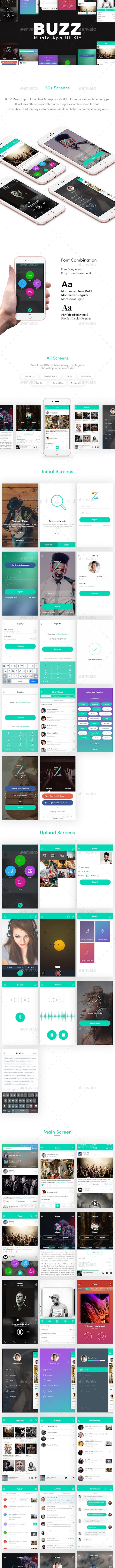 Buzz Music App UI - User Interfaces Web Elements