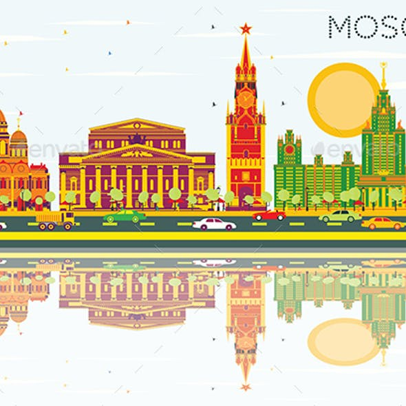 Moscow Skyline with Color Buildings, Blue Sky and Reflections.