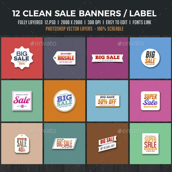 12 Clean Sale Banners / Badges