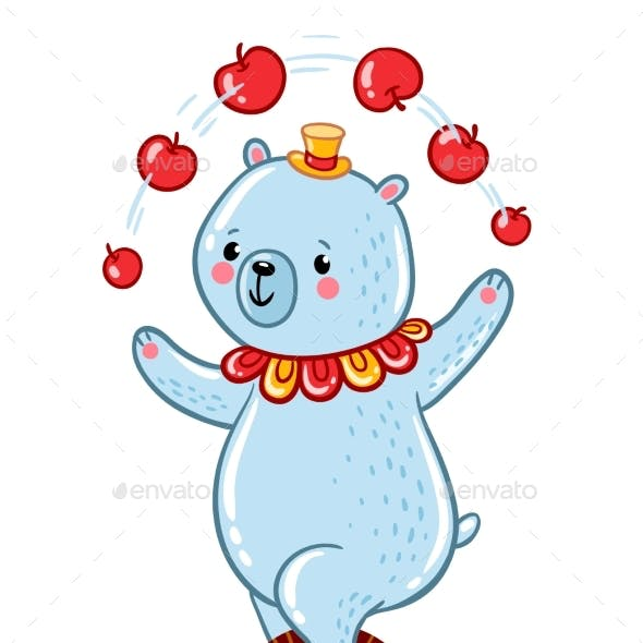 Bear Juggles Apples Illustration