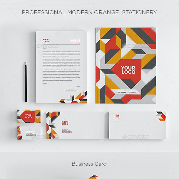 Professional Modern Orange Stationery