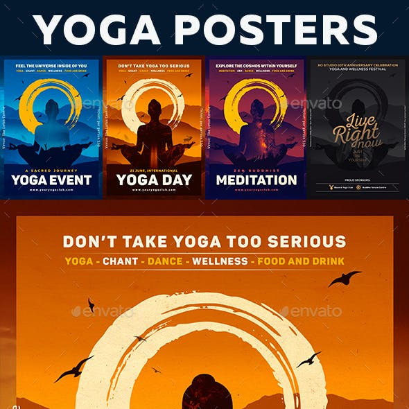 Amazing 4 Yoga and Meditation Posters / Flyers