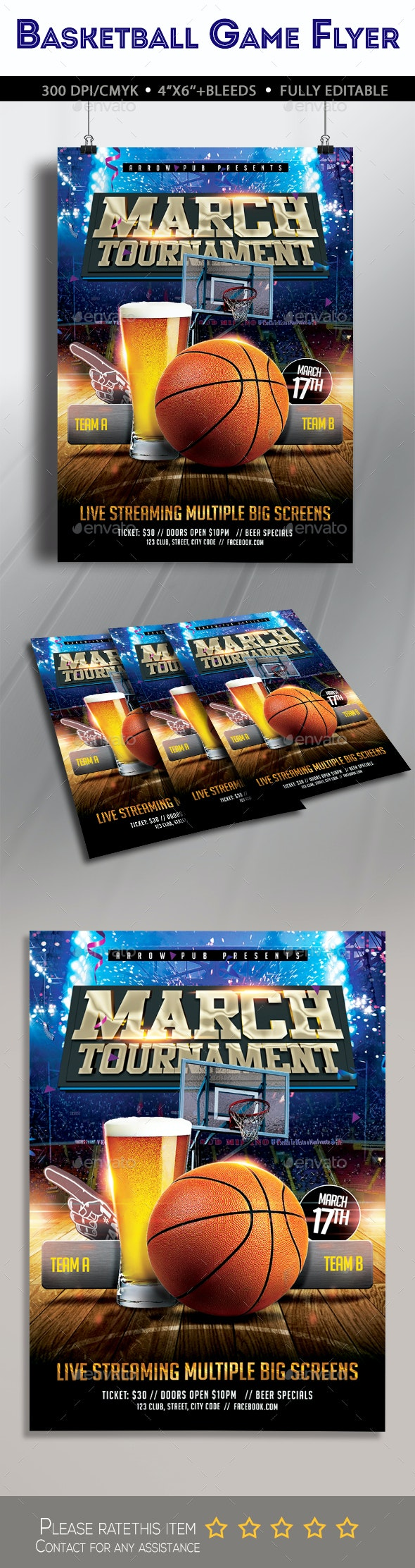 March Madness Basketball Flyer - Clubs & Parties Events