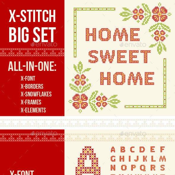 Cross-Stitch Design Elements Set