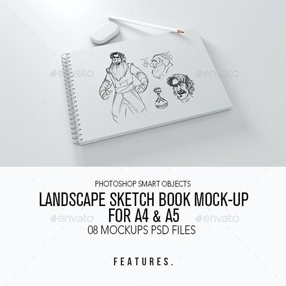 Landscape Sketch Book Mock-up For A4 & A5