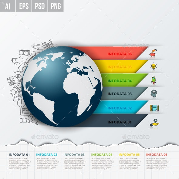 Vector Global Infographics Template for 6 Options. - Infographics