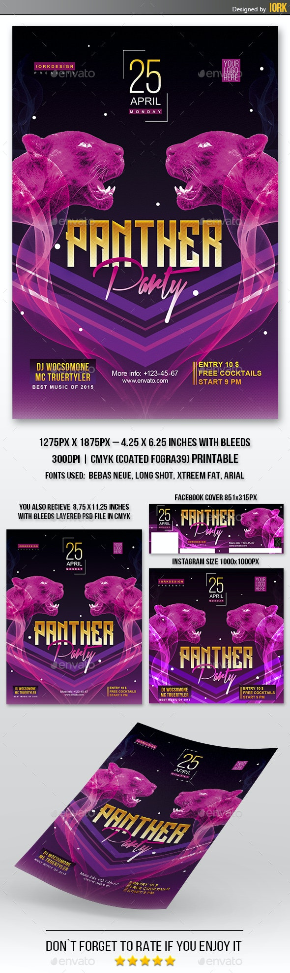 Panther Night flyer and poster - Clubs & Parties Events
