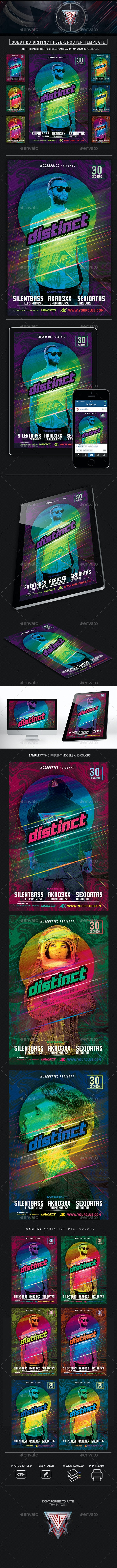 Guest DJ Distinct Flyer/Poster Template - Clubs & Parties Events