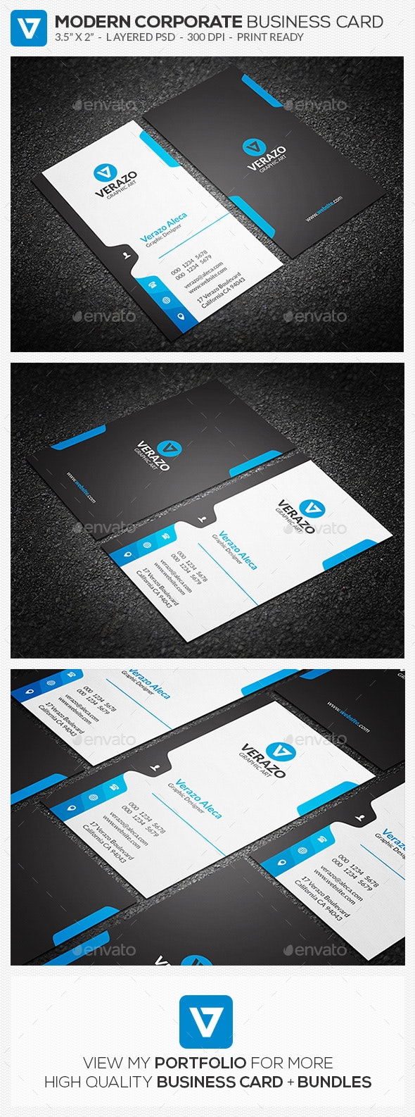 Creative Vertical Business Card Template - Corporate Business Cards