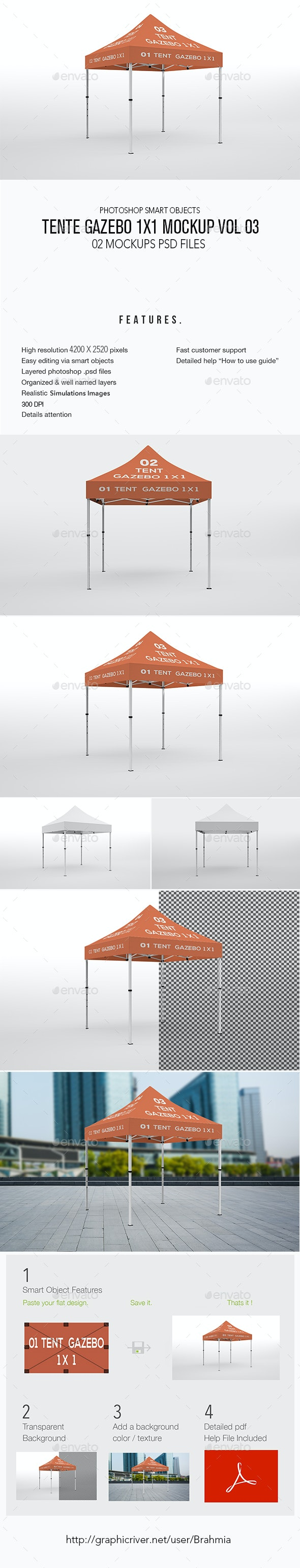 Tente Gazebo 1x1 Mockup Vol 03 - Miscellaneous Print