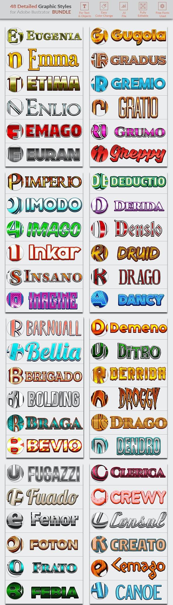 48 Detailed Graphic Styles — Mega Pack - Styles Illustrator
