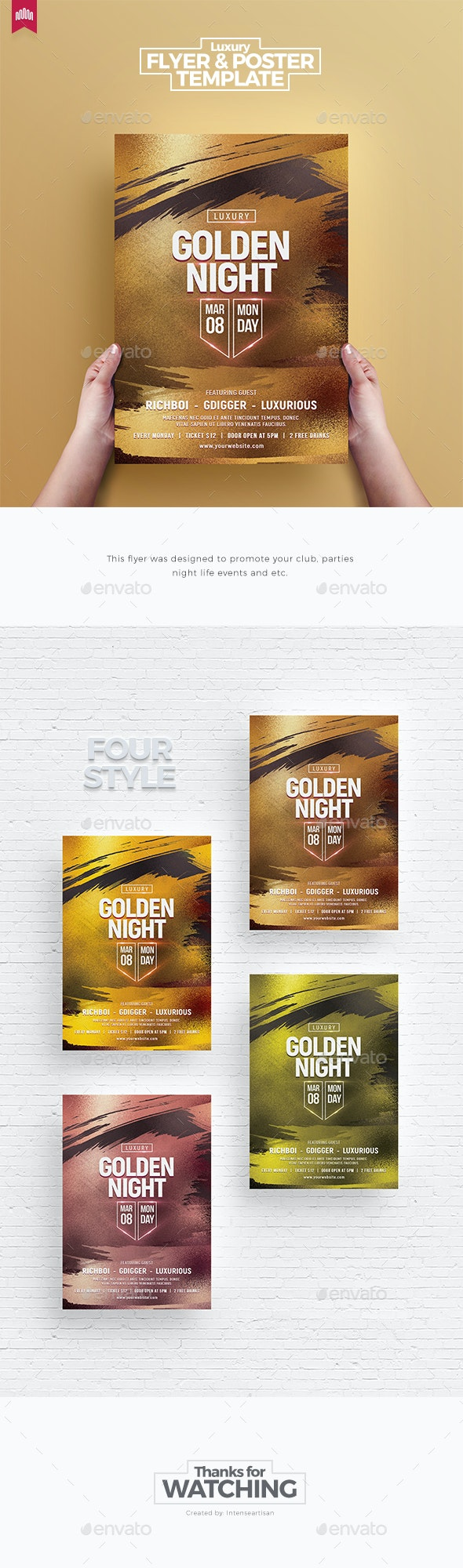 Gold Night - Flyer Template - Clubs & Parties Events