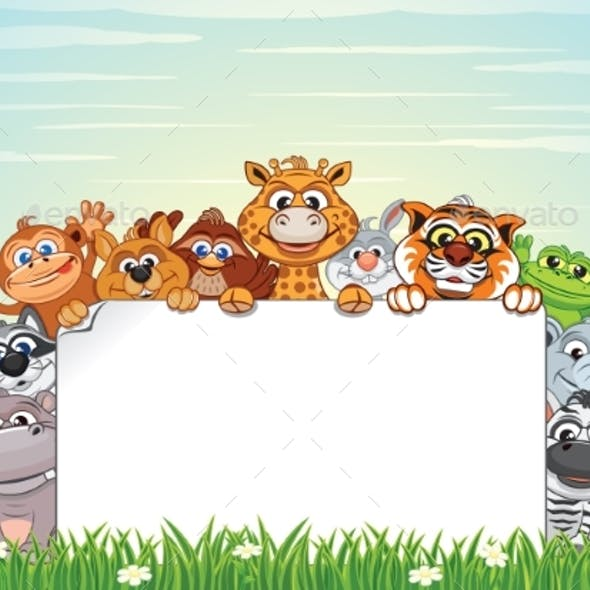 Animals On Nature Cartoon Background By Pilart Graphicriver