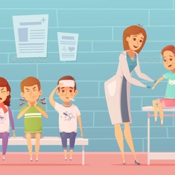 Children Visit Pediatrician Composition