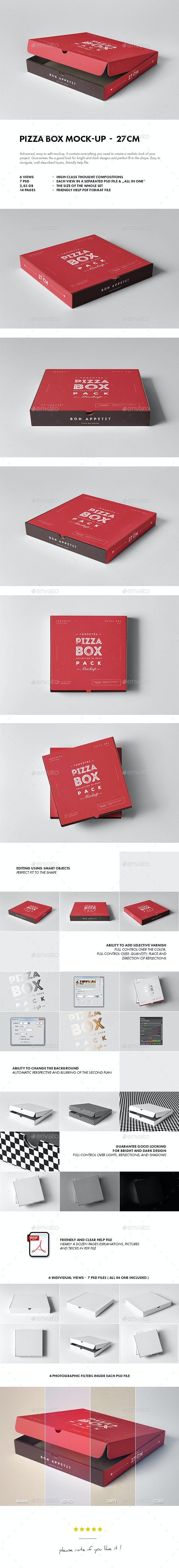 27 Pizza Box Mock-up - Food and Drink Packaging
