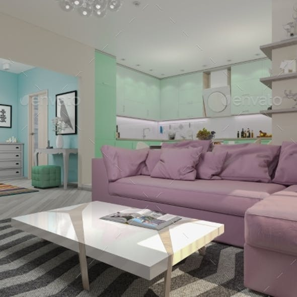 3d Illustration of Small Apartments in Pastel