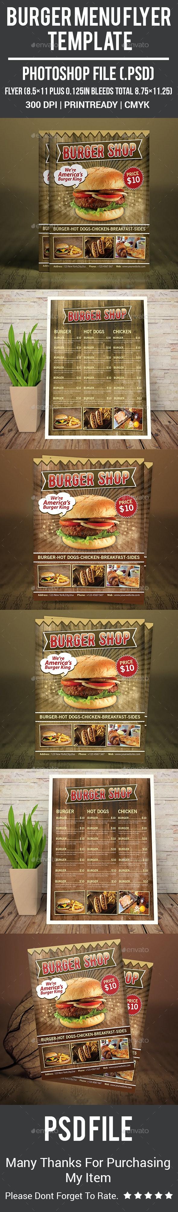 Burger Menu Flyer Template - Food Menus Print Templates