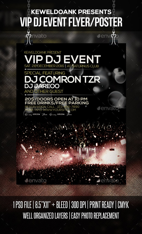 Vip Dj Event Flyer / Poster - Clubs & Parties Events