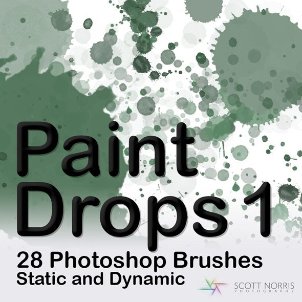 Paint Drops Photoshop Brush Pack by ScottNorrisPhotography