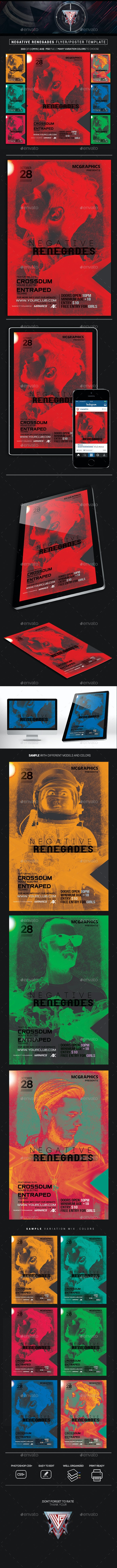 Negative Renegades Flyer/Poster Template - Events Flyers