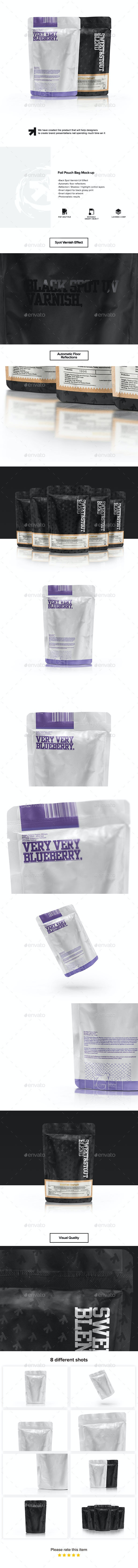 Foil Pouch Bag Mock-up - Food and Drink Packaging