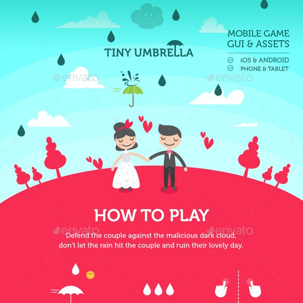 Full Game Kit Tiny Umbrella Mobile Arcade Game Assets