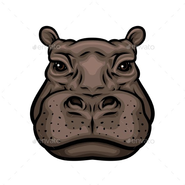 Hippo or African Hippopotamus Animal Isolated Icon