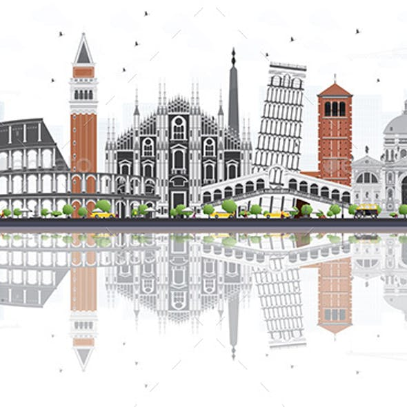 Italy Skyline with Landmarks and Reflections