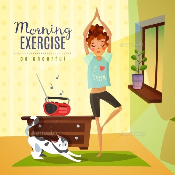 Morning Exercises Cartoon Composition