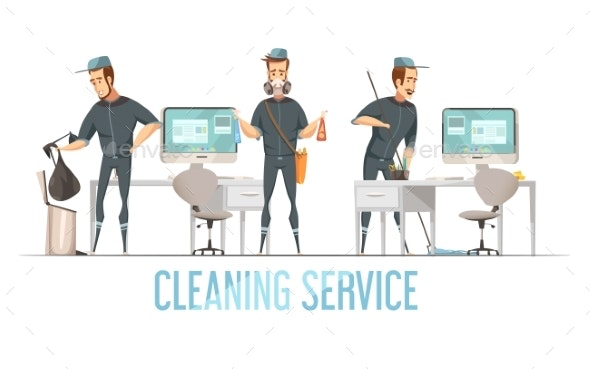 Cleaning Service Design Concept - People Characters