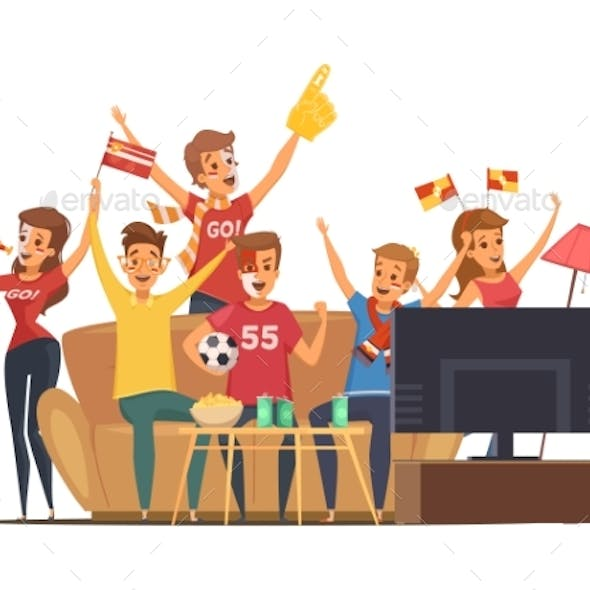 Sport Fans Watching TV Composition